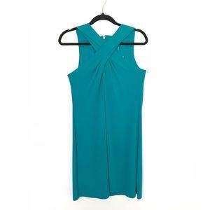 Michael Kors Teal Cross Front Shift Dress Sz M NWT